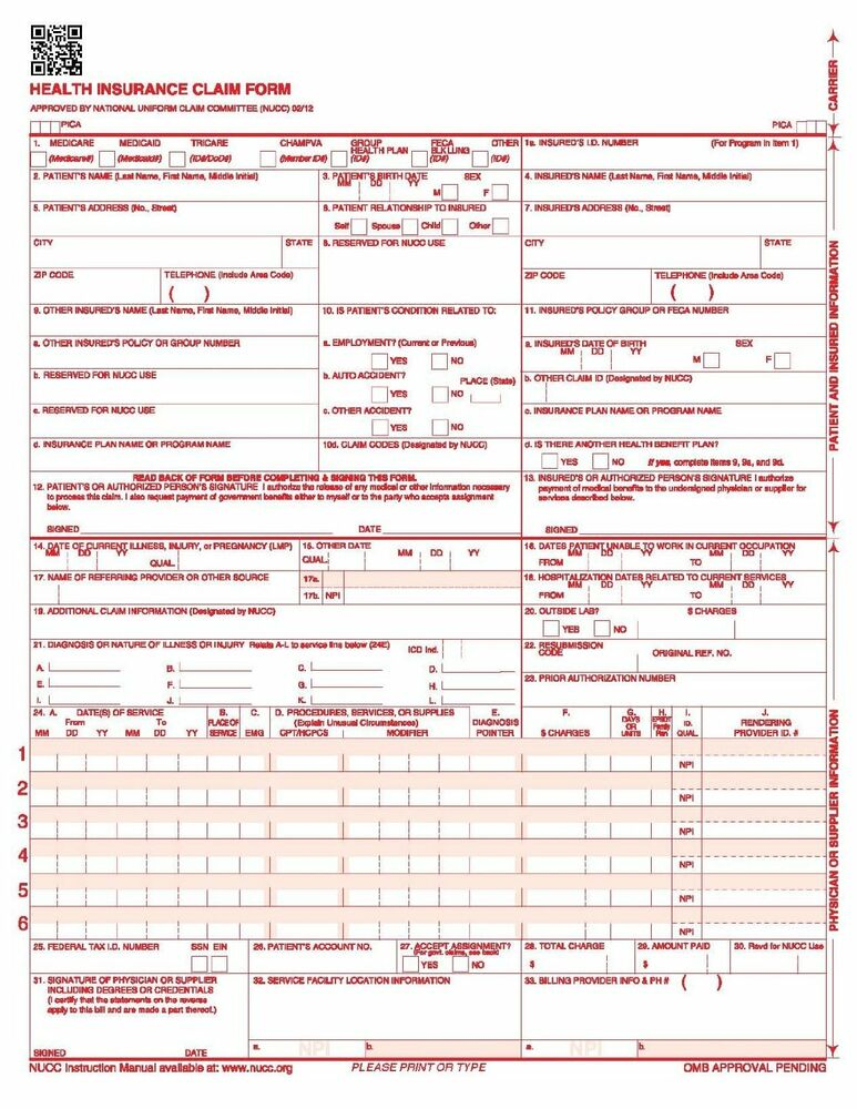 new cms 1500 hcfa health insurance claim forms  version 02  12  500 forms