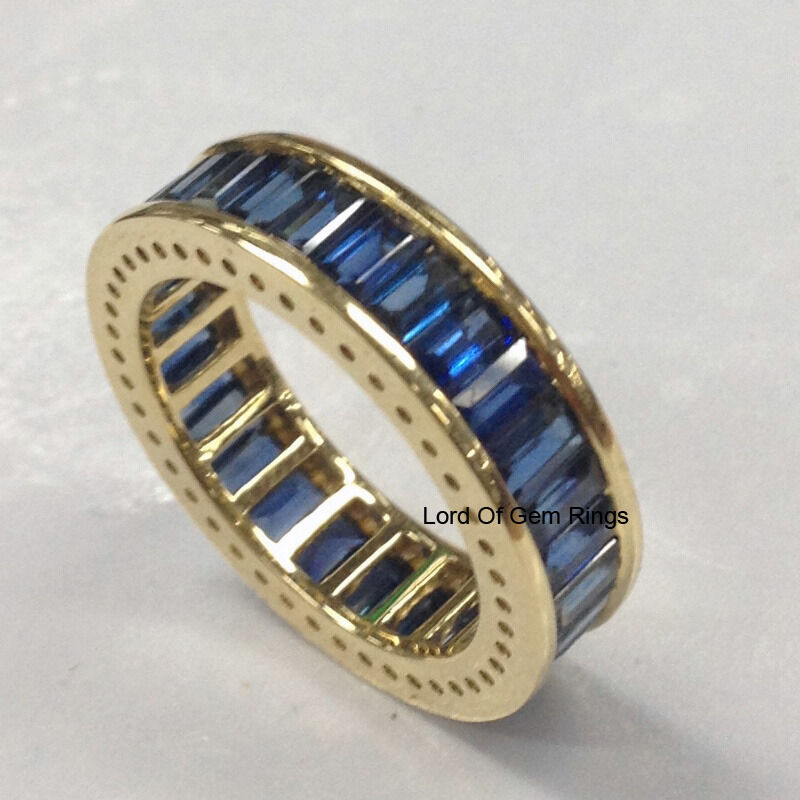 Eternity Ring Wedding Set: Sapphire Wedding Anniversary Ring,18K White Gold,Full