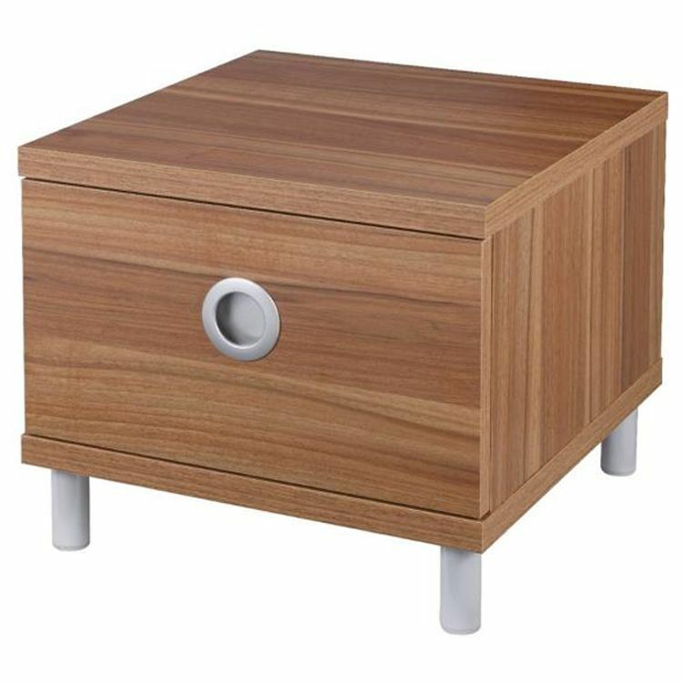 Small bedside cabinets tables 1 drawer unit walnut bedroom for Small console table with drawer