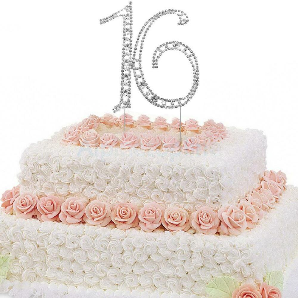 ROMANTIC SWEET 16TH BIRTHDAY PARTY CAKE PICK CAKE TOPPERS ...