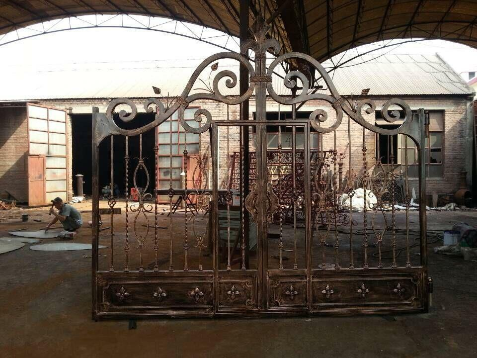 BEAUTIFUL HAND MADE SOLID IRON ESTATE DRIVEWAY GATES WITH ... Solid Iron Gates
