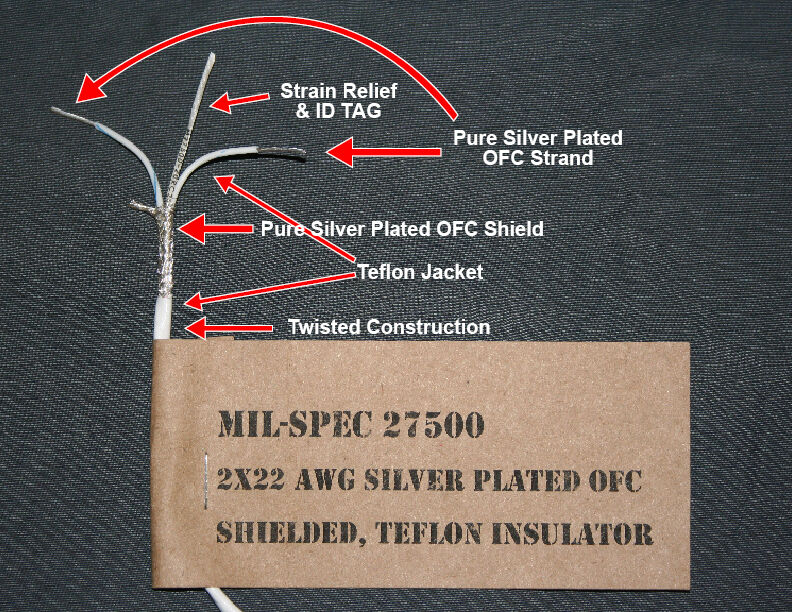 Surplus Mil-Spec 2 conductor wire 22 AWG silver teflon RCA cable ...