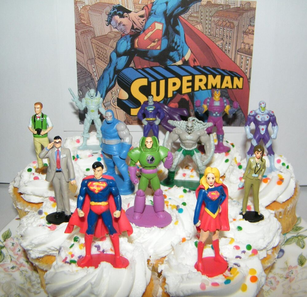 Superman Cake Decorating Kit Topper : Superman Cake Toppers Set of 13 with Super Girl, Jimmy ...