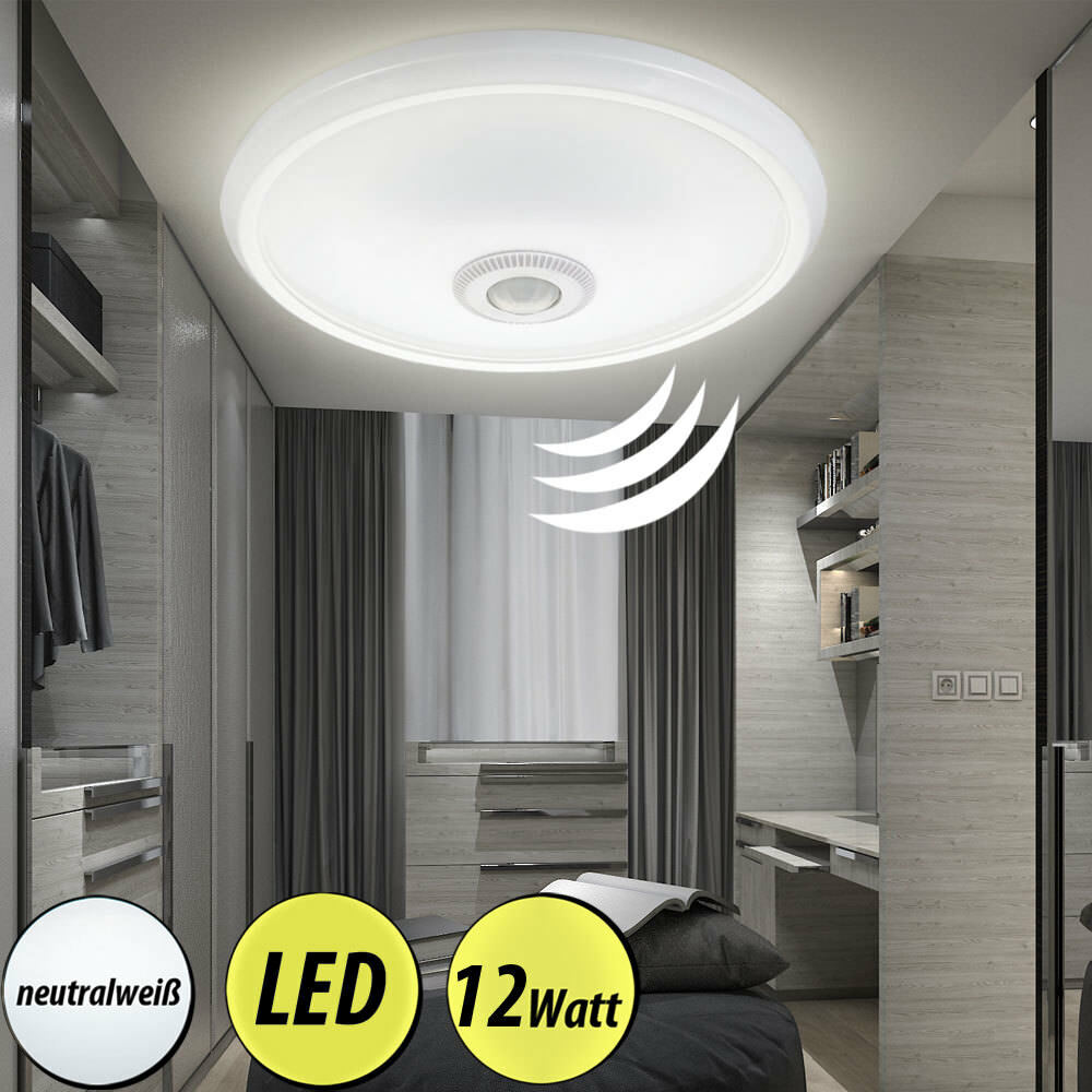 led decken lampe wei bewegungs sensor g ste bad beleuchtung alu flur leuchte ebay. Black Bedroom Furniture Sets. Home Design Ideas