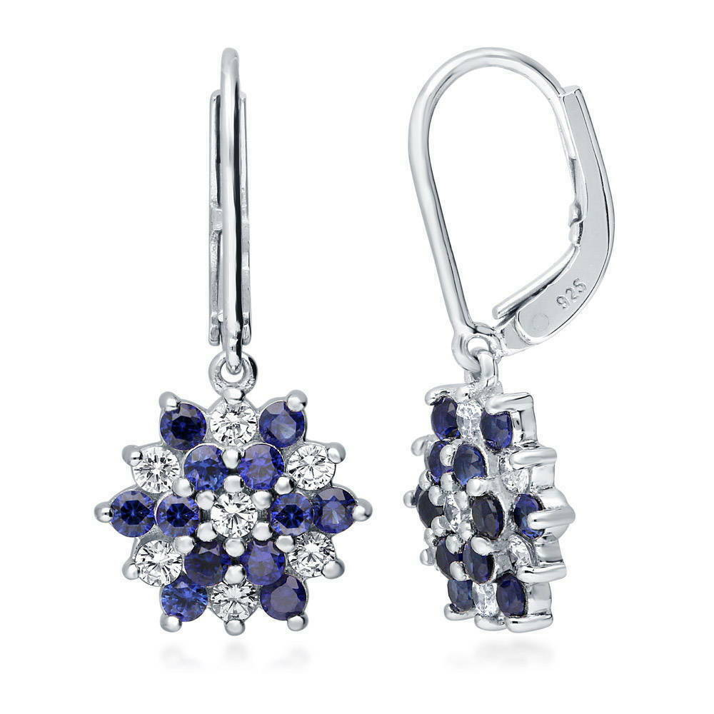 Berricle 925 Silver Simulated Sapphire Cz Flower Leverback