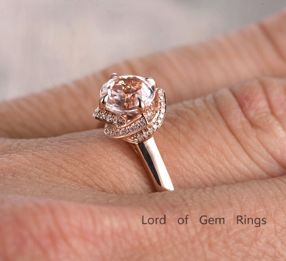 diamond halo ring 7mm round morganite engagement ring wedding band 14k rose gold ebay. Black Bedroom Furniture Sets. Home Design Ideas