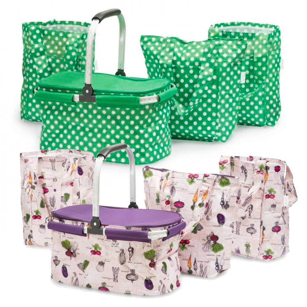 4pc Sachi Insulated Collapsible Shopping Basket With