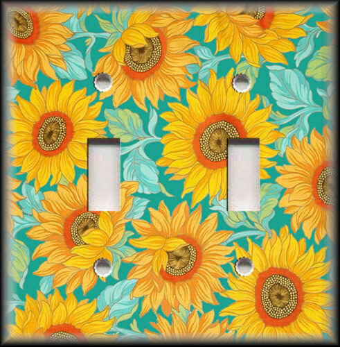 Metal light switch plate cover yellow blue turquoise for Home decorations on ebay