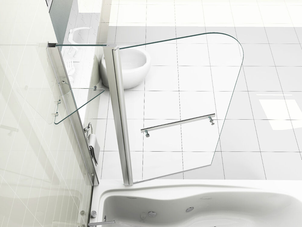 new 6mm glass double over bath shower screen with shelf ebay. Black Bedroom Furniture Sets. Home Design Ideas