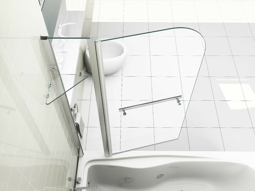 New 6mm Glass Double Over Bath Shower Screen With Shelf Ebay