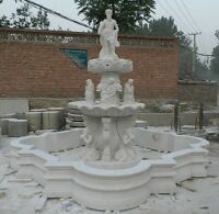 BEAUTIFUL HAND CARVED MARBLE FIGURAL GARDEN FOUNTAIN