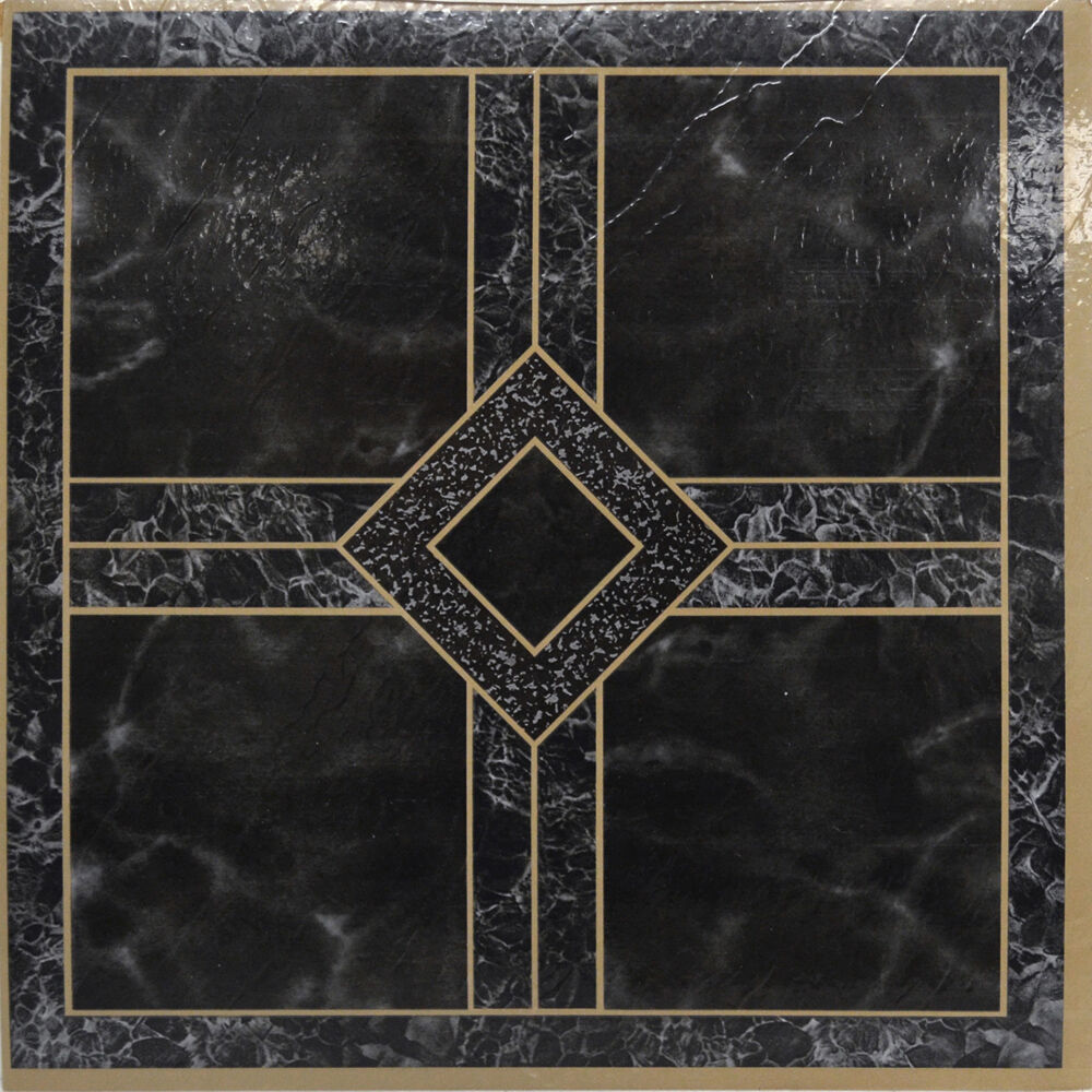 Black marble vinyl floor tiles 40 pcs self adhesive for Black vinyl floor tiles