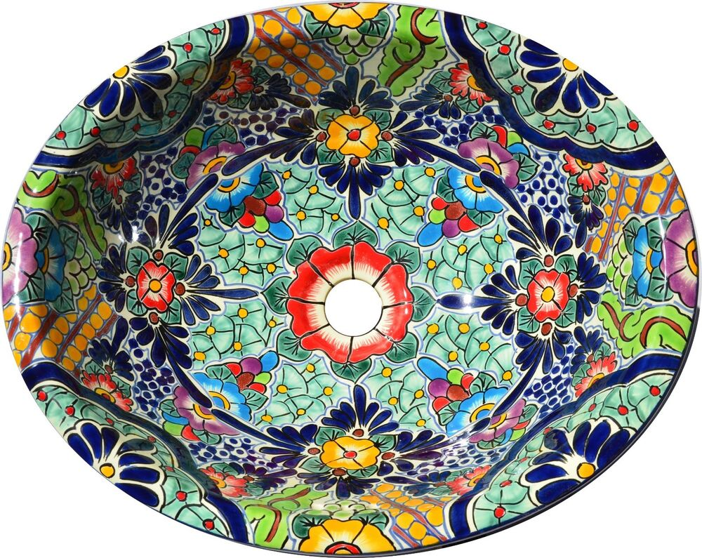 Mexican Bathroom Talavera Sink Handmade Ceramic Mexico 205 Ebay