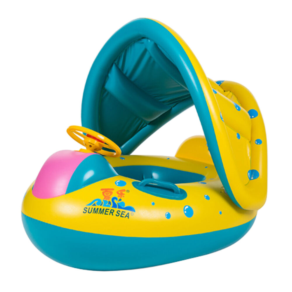 Thickness Pool Inflatable Safe Swim Ring Float Canopy Sunshade For
