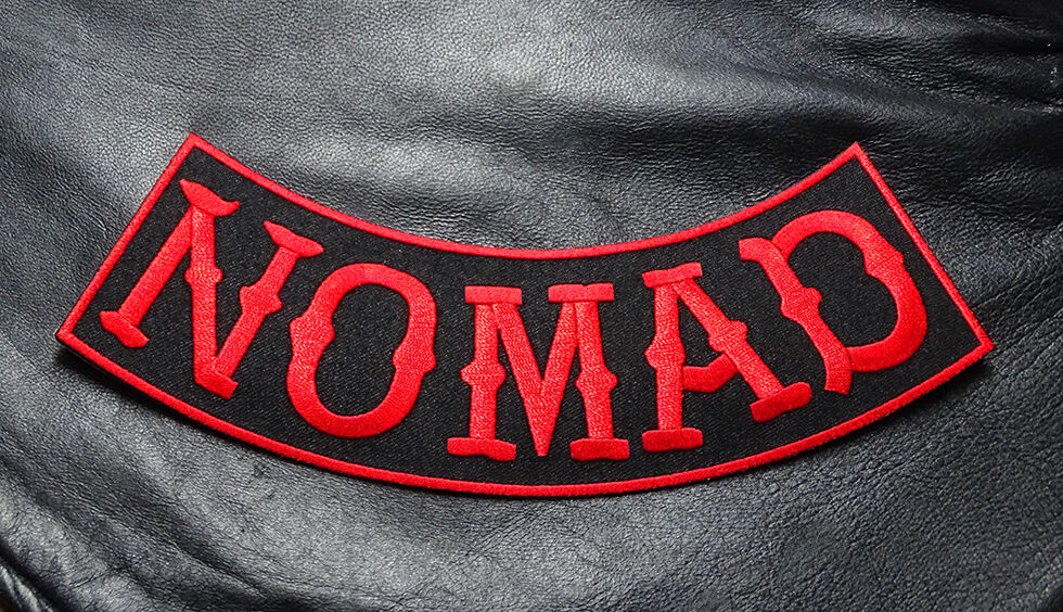 Biker Vest Patches >> NOMAD SONS OUTLAW ROCKER JACKET VEST 9 INCH ANARCHY MC RED BIKER PATCH | eBay
