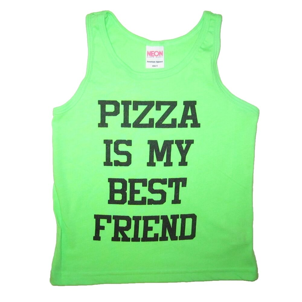 170eca82 Details about kids pizza is my best friend tank top funny summer cute  sleeveless tee t shirt
