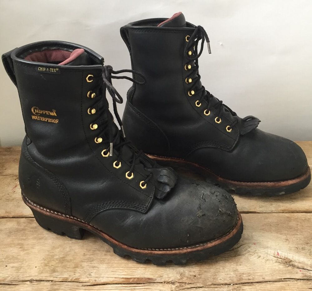 Chippewa 73050 Black Leather Logger Insulated Chip A Tex