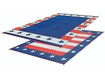 RV Patio Mat American Flag Awning USA Camping Trailer Outdoor Rug 9x12