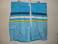 MENS MERONA BRAND STRIPED SWIMMING BOARD SHORTS (T36) -- SIZE XXL