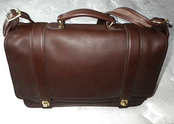 handmade leather briefcase made in usa vtg coach essex mahogany brown leather messenger 4456