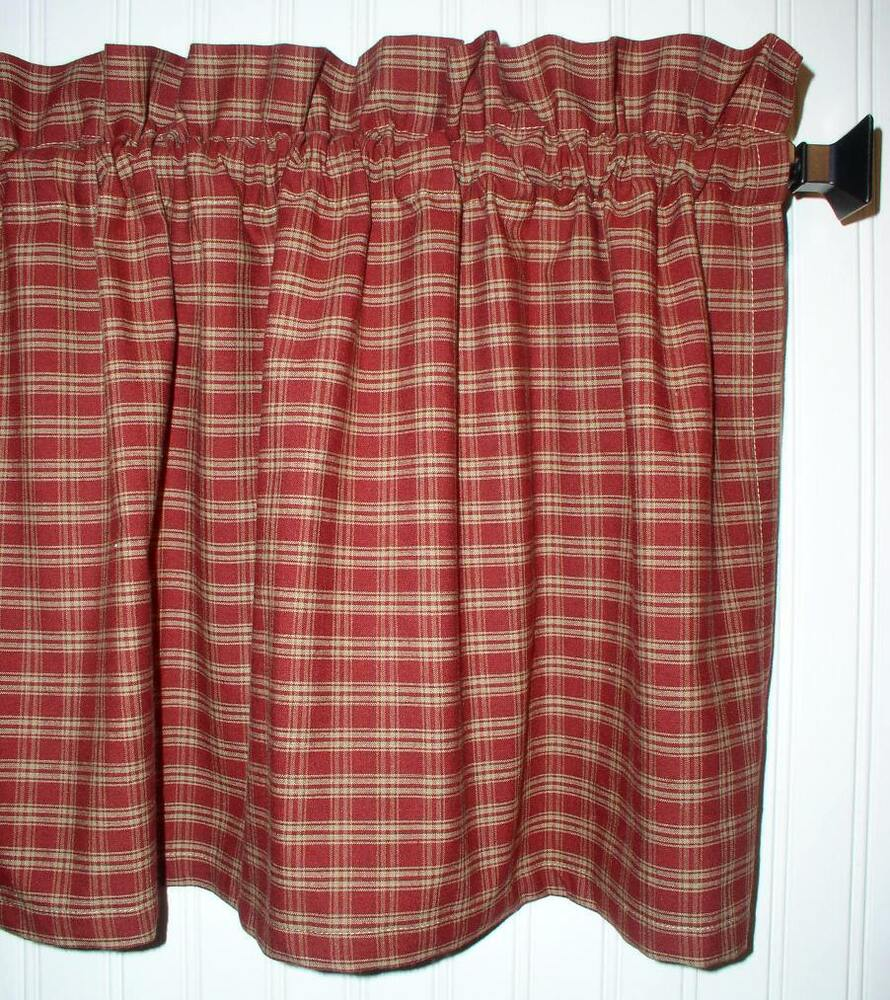 Berry Red Plaid Valance Tiers Primitive Country Curtains