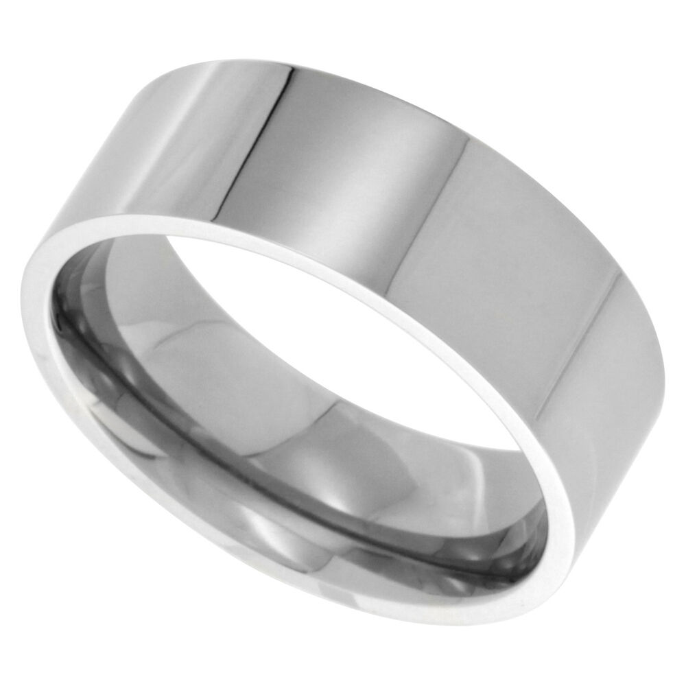Stainless steel 8mm flat plain band ring fr065 ebay for Do pawn shops buy stainless steel jewelry