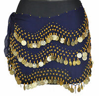 BELLY DANCING Hip Scarf Costume Opera Skirt Wrap Belt Royal Blue Golden Coins L3