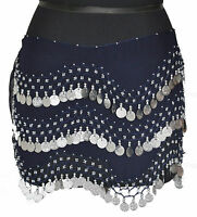 BELLY Hip DANCING Scarf Costume Opera Skirt Wrap Belt Royal Blue Silver Coins L3