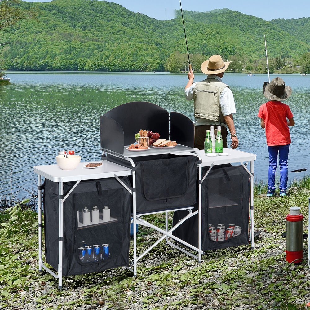 Camping kitchen picnic cabinet table portable folding - Table cuisine retractable ...