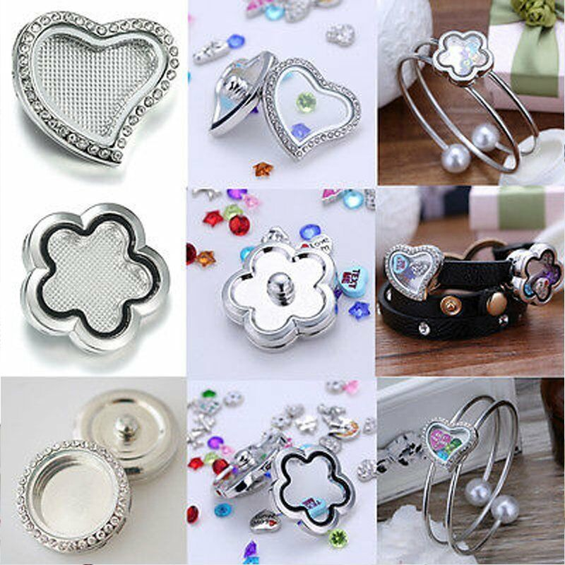 Memory Charm Bracelets: Snap-It Chunk Floating Charms Locket For Button Bangle