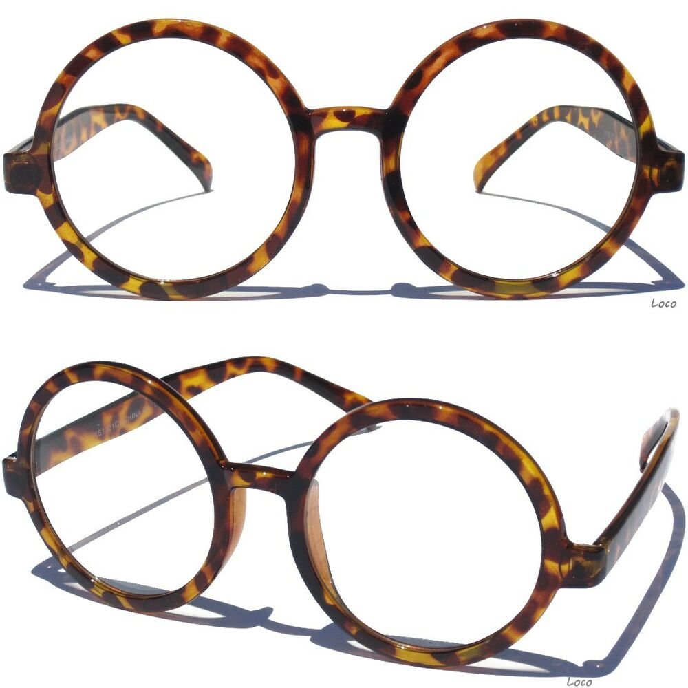 ROUND OVERSIZE CLEAR LENS GLASSES Retro Big Style Hipster ...