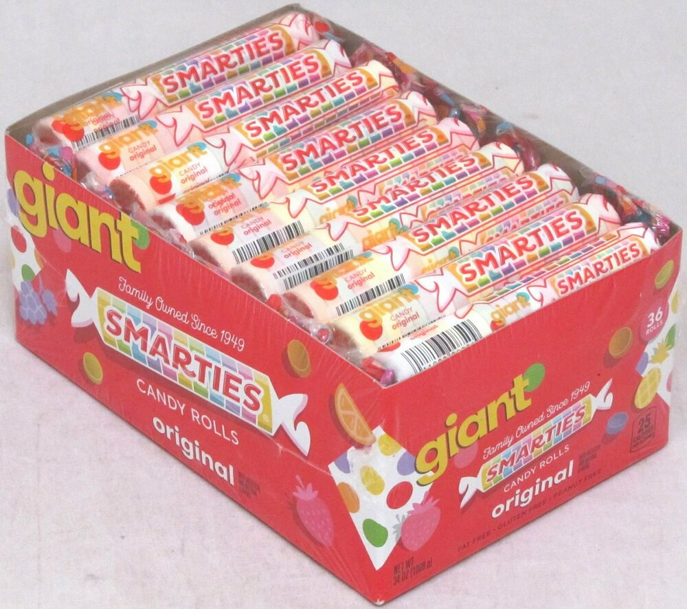 Giant Smarties 36 ct Box Candy Rolls Bulk Candies Fruit ...