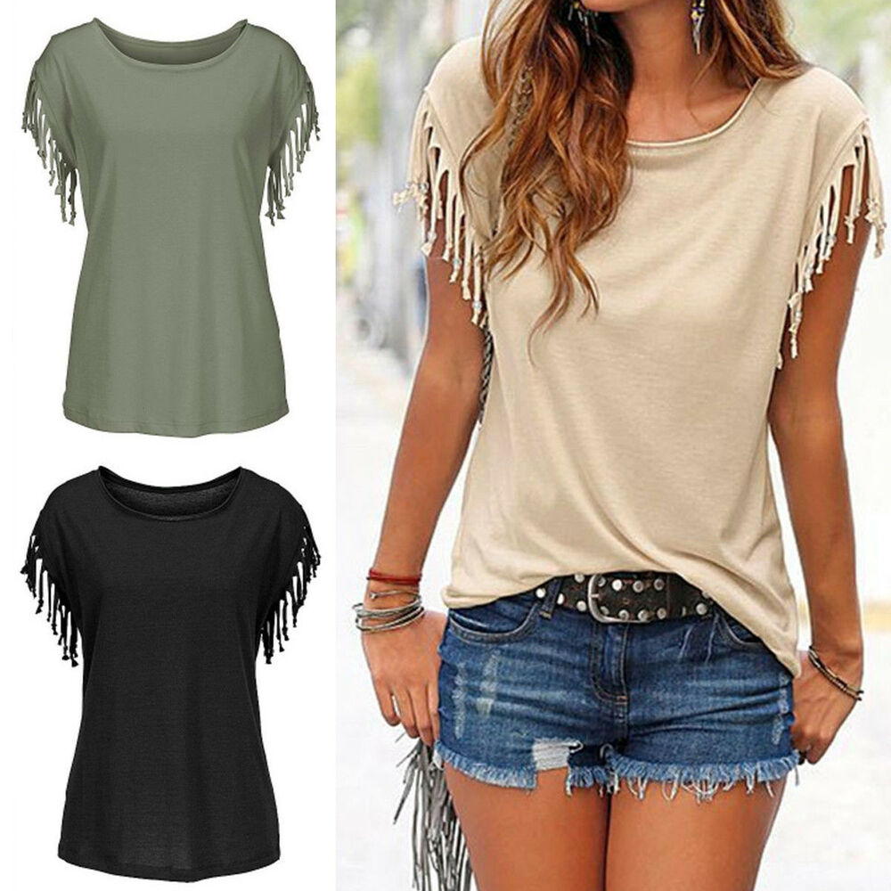 Cute Womens Tassels Short Sleeve Loose T-Shirt Ladies ...