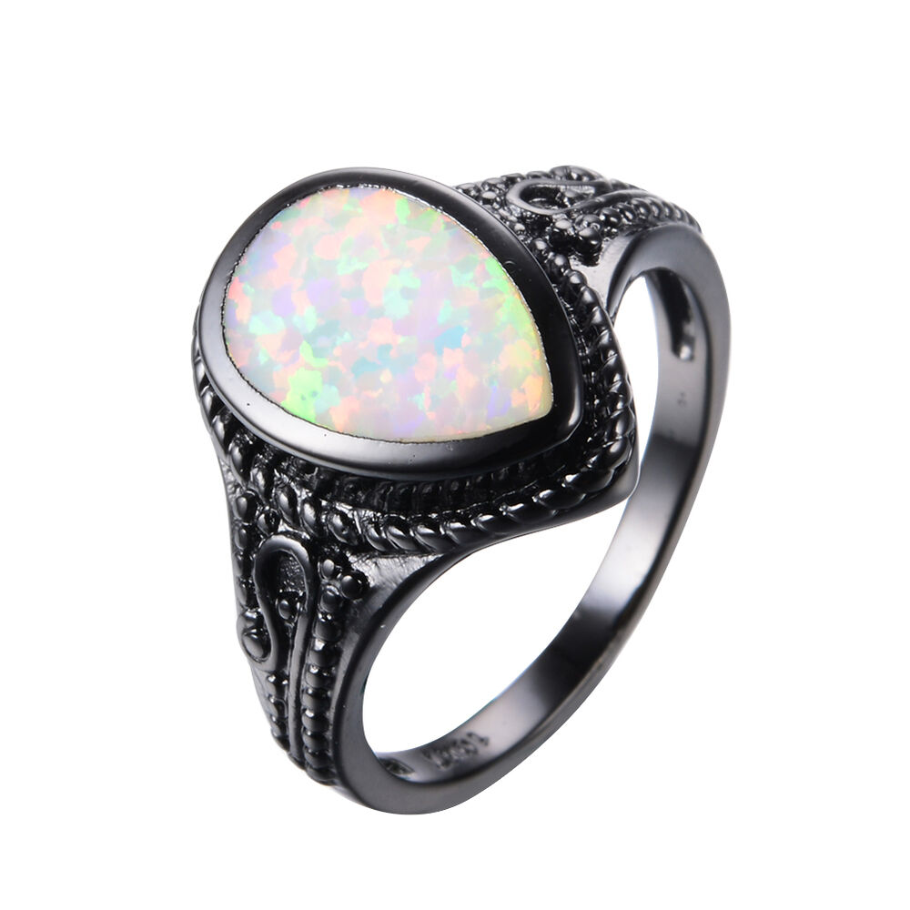 Pear Cut White Fire Opal Engagement Ring 10KT Black Gold