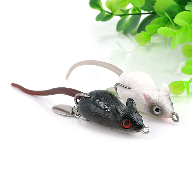 Top water bass hooks bait soft rubber large mouse fishing for Mouse fishing lure