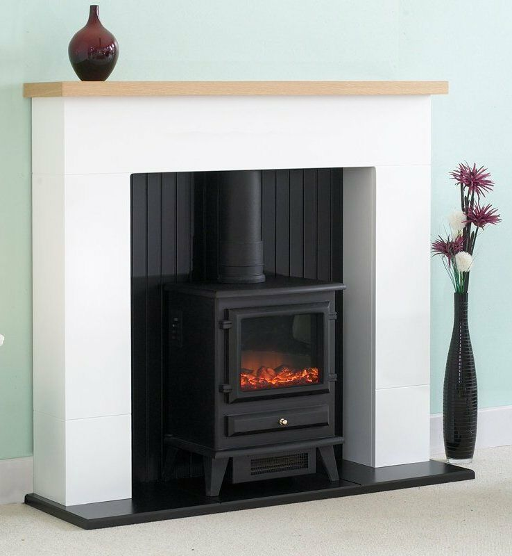 Electric fire stove oak mantle white and black fireplace surround freestanding ebay - Black and white fireplace ...
