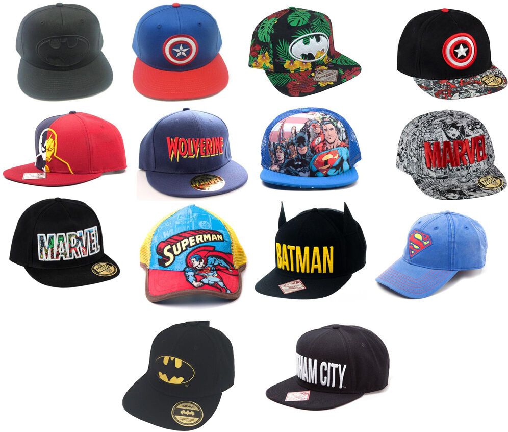 10b7b974d5d32 Marvel   DC Comics Baseball Snapback WideBill Cap New   Official Batman  Superman