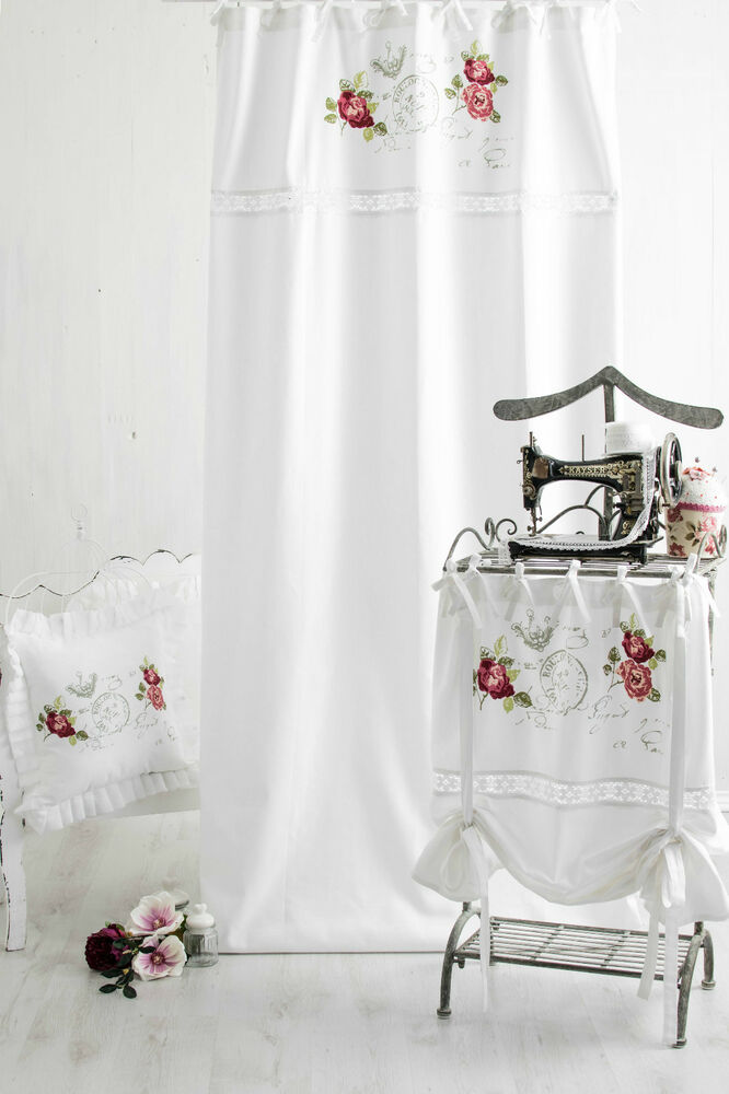 rose garden vorh nge gardinen 2x 120x240cm weiss franske landhaus shabby chic ebay. Black Bedroom Furniture Sets. Home Design Ideas