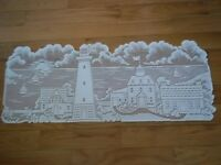 LIGHTHOUSE BEACH SAND BOATS SUMMER CREME TABLE RUNNER LACE ACCENT LTCTR25 DECOR