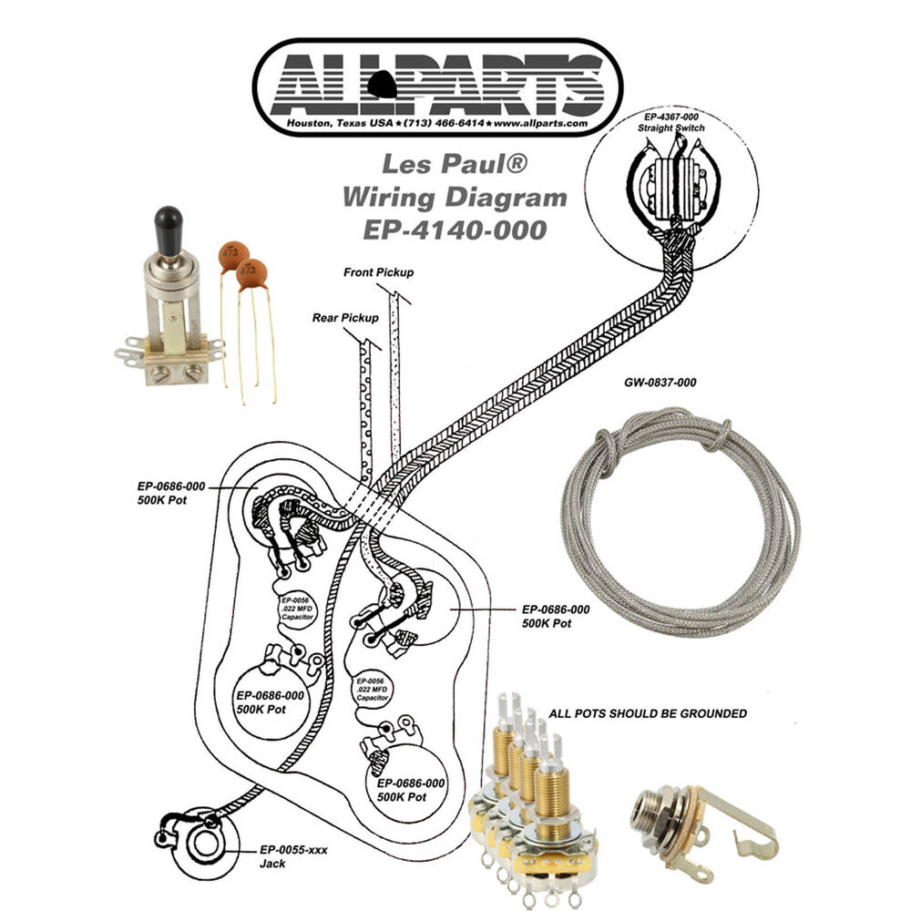 wiring kit gibson les paul complete with schematic. Black Bedroom Furniture Sets. Home Design Ideas