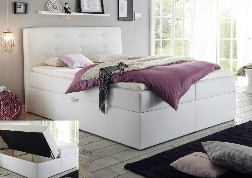 boxspringbett 140x200 schwarz weiss mit kasten xxl visco bett hotellbett 140x200 ebay. Black Bedroom Furniture Sets. Home Design Ideas