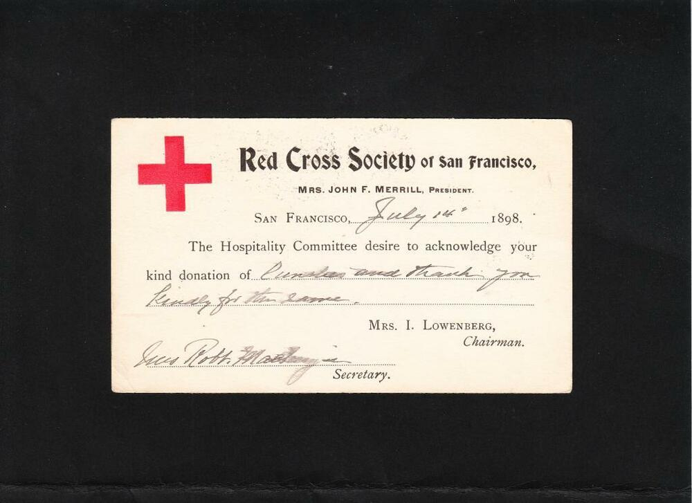 Red Cross Society of San Francisco Mrs Merrill President