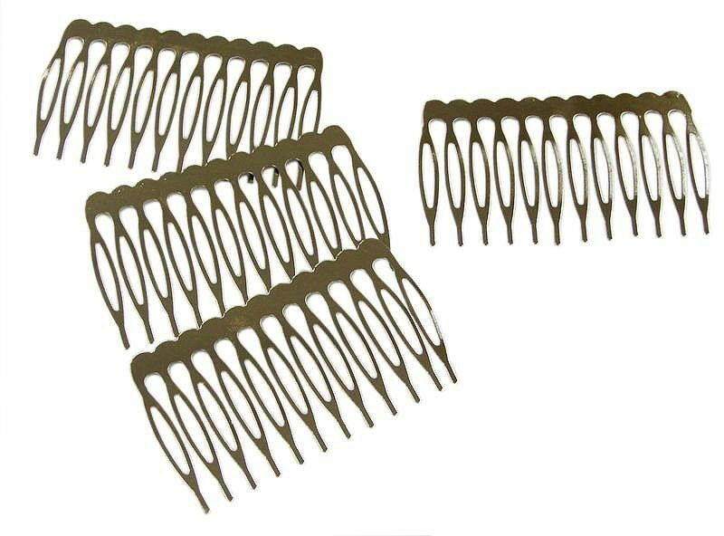 Silver metal hair combs with teeth for hair accessories for Metal hair combs for crafts