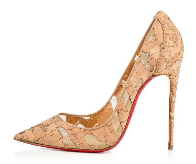 da419592f7 Christian Louboutin SO KATE 120 Cork Mesh Stiletto Heels Pumps Shoes Nude   695