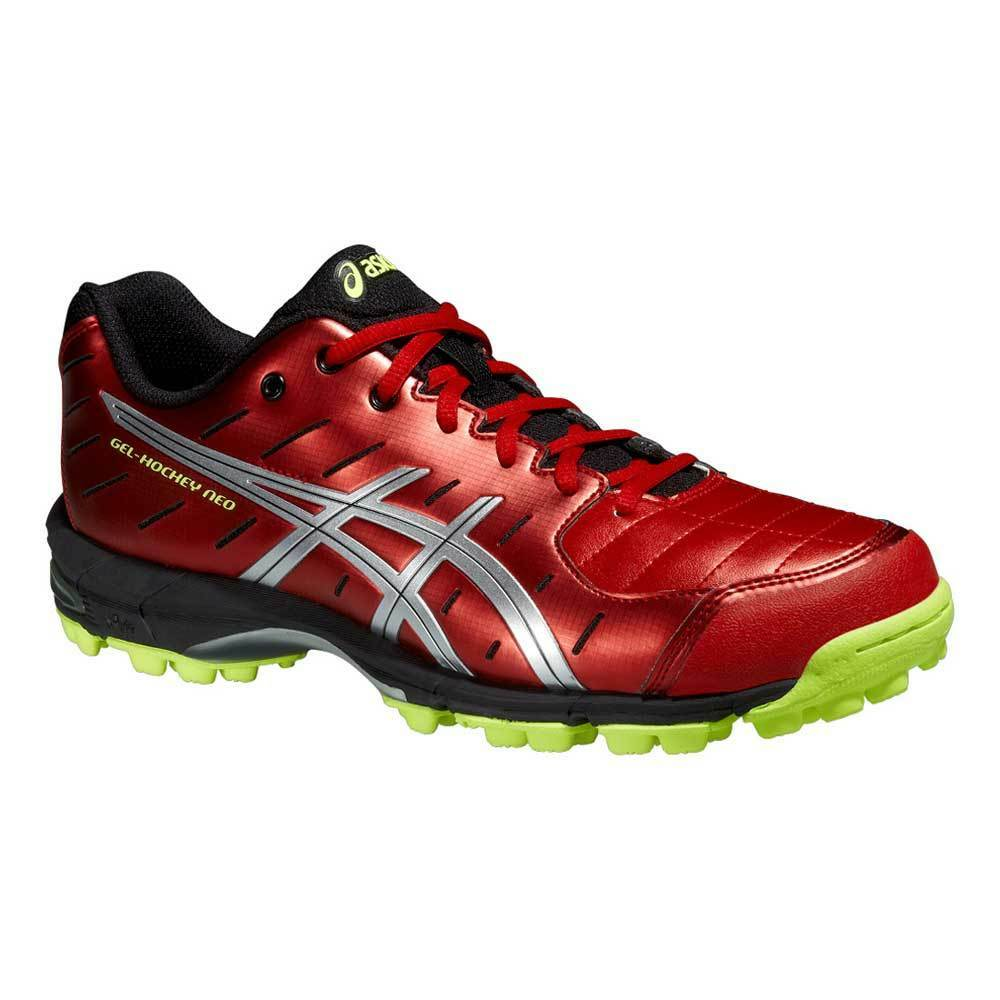 f9db902e5731 Details about Asics Gel-Hockey Neo 3 Mens Hockey Shoes Fiery Red Silver Flash  Yellow 2015
