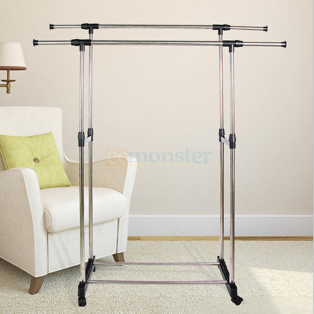 portable double adjustable heavy duty clothes hanger rolling garment rail rack ebay. Black Bedroom Furniture Sets. Home Design Ideas