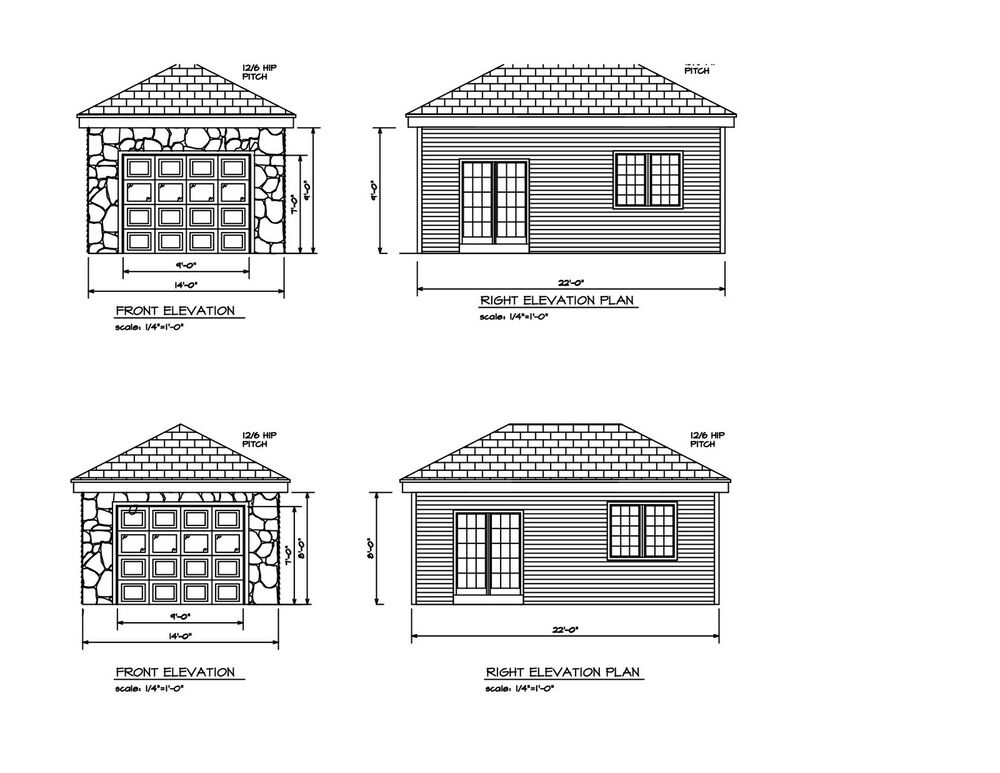 Hip Roof One Car Garage 22 39 X14 39 Hip Roof Plan Print One