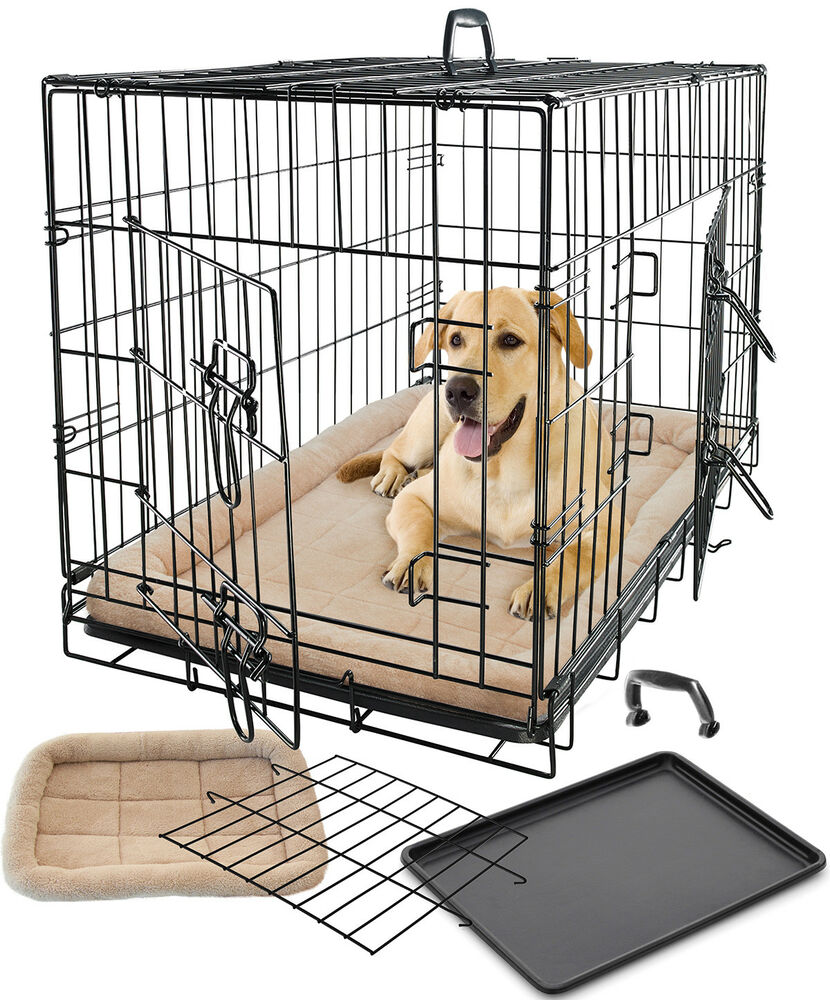 Pet Dog Cat Crate Kennel Cage & Bed Pad Cushion Warm Soft