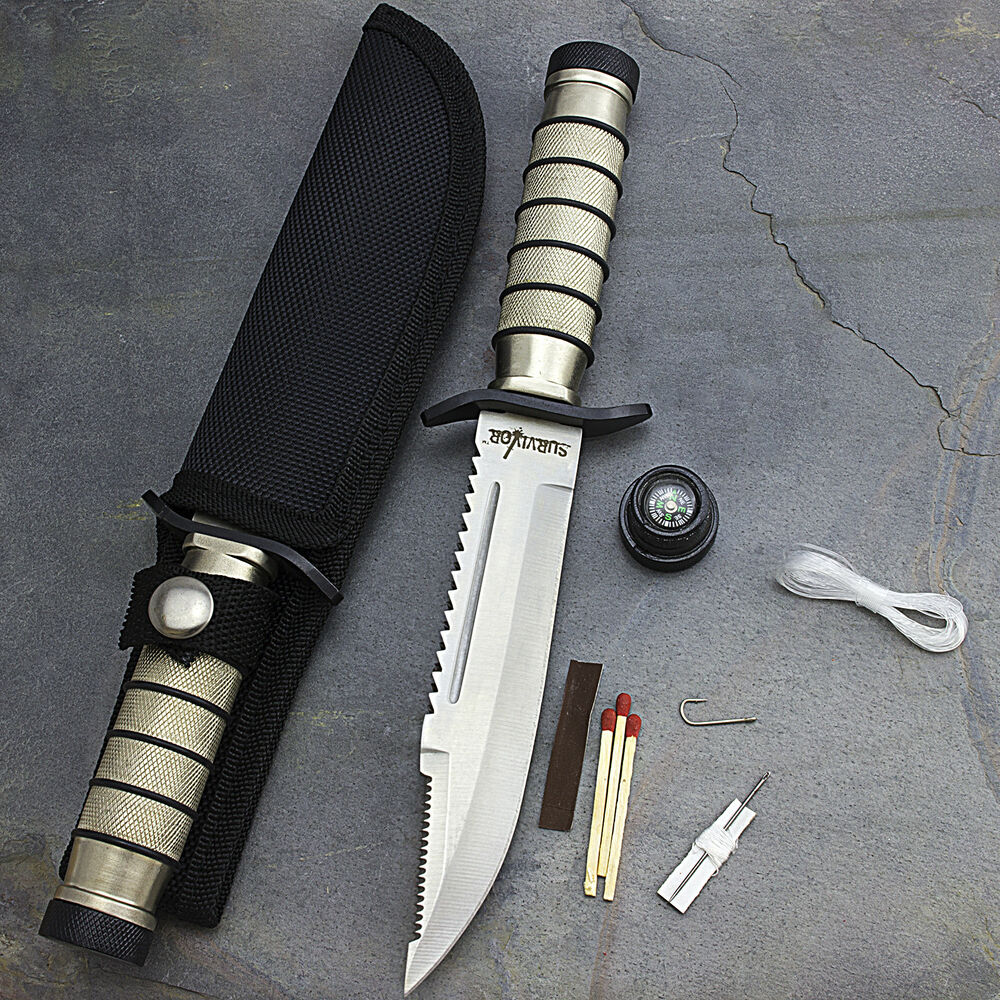 """9.5"""" SURVIVAL COMBAT TACTICAL HUNTING KNIFE w/ SHEATH ..."""