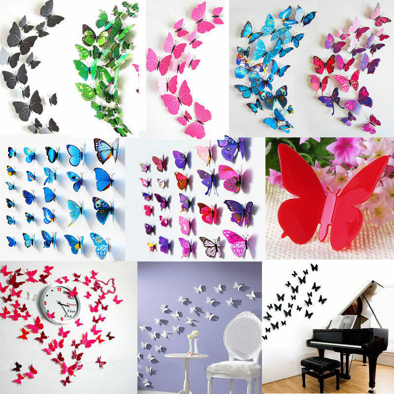 3d pvc butterflies diy butterfly art decal home decor wall mural stickers u pick ebay. Black Bedroom Furniture Sets. Home Design Ideas